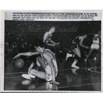 1958 Press Photo Spring Valley's Paul Raddcliff falls down in basketball game