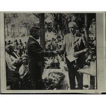 1935 Press Photo Robert Yellowtail, Charles Corkins at Crow Agency, montana