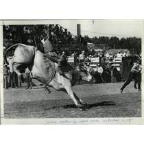 "1971 Press Photo Larry Condon goes for ride on Brahma bull named ""LSD""."