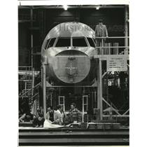 1980 Press Photo Aircraft 757 mock up by Boeing Corporation, Renton Plant