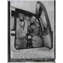 1954 Wire Photo Max Conrad long distance flier leans from cockpit of his plane