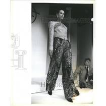 1988 Press Photo Mary McFadden Quilted Jacket Pajamas - RRR64917