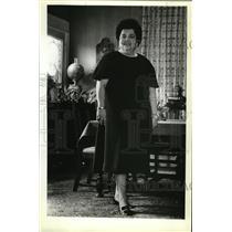 1979 Press Photo Mrs. Harrison King wears black cocktail dress by Herbert Levy