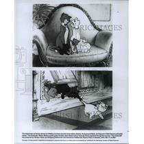 1987 Press Photo O'Malley and three kittens in the animated film, The Aristocats