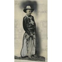 1934 Press Photo Pilot Colonel Lindbergh Depicted as Cowboy - nef56391