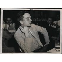 1937 Press Photo Ralph Beck a Chicago reporter at Senate Civil Liberties hearing