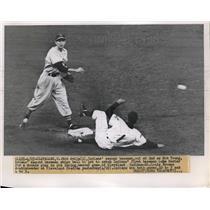1951 Press Photo Cleveland's Bob Avila out at 2nd vs Brown Bob Young - nes05362