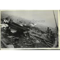 1980 Press Photo Wreckage of a small plane found by US Forest Service workers