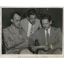 1938 Press Photo Frank Davin, James J. & John C. Metcalfe at Dies Committee