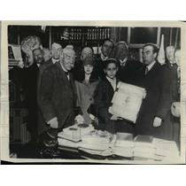 1928 Press Photo Georges Clemenceau Presented With A Memorial Book  - mjx22827
