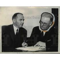 1934 Press Photo Dr. Ralph C. Warne, James A. Johnston Meeting in San Francisco