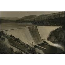 1931 Press Photo Bear Creek Dam, an important feature of Portland water system
