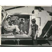 1987 Press Photo Mike Eaton in Life Flight helicopter at Emergency Service Fair