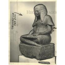 1923 Press Photo Statue of Harmhab of Eighteenth Egyptian Dynasty - mjx23360
