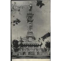 1929 Press Photo Carre Marbel monument at Colon Cemetery in Havana, Cuba