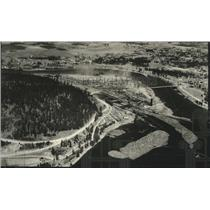 1935 Press Photo Aerial View of Blackwell Lumber Co - spx14932