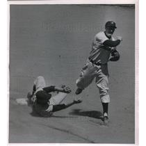 1955 Press Photo Nationals' Eddie Yost out a 2nd vs Indians' George Strickland