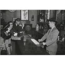 Press Photo Mrs Miriam Bebeau and Harry Stiffler & Bill Kenney at Virginia City