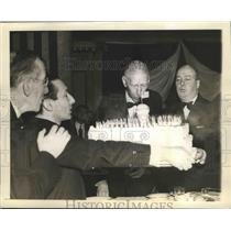1943 Press Photo Connie Mack Philadelphia Athletics Manager blows his Cake