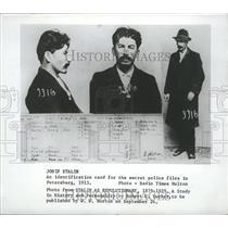 1913 Press Photo Joseph Stalin's Identification Card in Secret Police Files