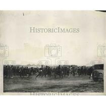1926 Press Photo Crowd Stampeding Over Ground in Their Enthusiastic Welcome