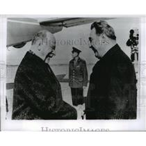 1965 Press Photo Walter Ulbricht Greeted by Leonid Brezhnev in Moscow, Russia