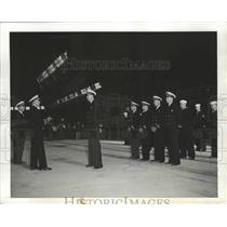 1942 Press Photo US Airship Patrol Squadron Commissioning at Moffett field, CA