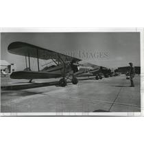1976 Press Photo Vintage biplane display at Fairchild Open House - spa42133