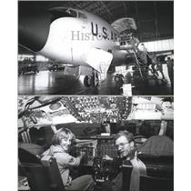 1978 Press Photo People viewing inside of plane at Fairchild Air Force Base.