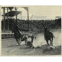 1927 Press Photo Cowboy Leapt From Horse Onto Steer's Horns-Pendleton Round-Up