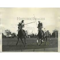 1928 Press Photo Action Play During Army-Meadowbrook Championship Polo Match