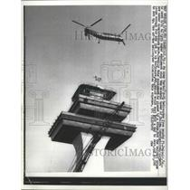 1962 Press Photo Helicopter Used to Lift Radar Equipment Atop Control Tower