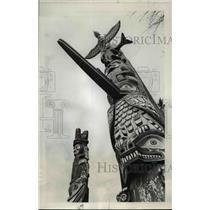 1969 Press Photo Towering Totem poles in British Columbia - orb53850