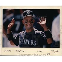 1997 Press Photo One of the Mariners player raising his hand in one of the games