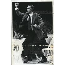 1973 Press Photo Portland Trail Blazer coach Jack McCloskey does a victory stomp