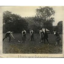 1928 Press Photo Radcliffe College girls at field hockey Clarine Stevens