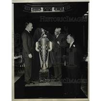 1936 Press Photo Borg-Warner Trophy Unveiled At Speedway Officials Dinner In NY