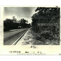 1979 Press Photo Welcome to Abita Springs road sign