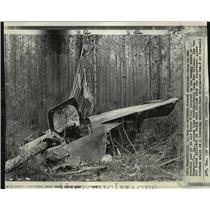 1971 Press Photo Wrecked pod of Air Force F-111 in Mandeville, Louisiana