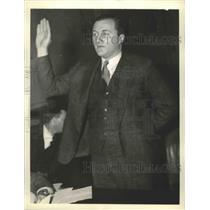 1936 Press Photo Frank C Waldrop Washington Herald reporter at House inquiry
