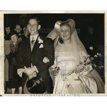 1941 Press Photo Cobina Wright Jr actrrss weds Palmer Beaudette - sbx01015