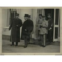 1922 Press Photo French Marshal Joffre at White House with Amb Jusserand