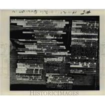 1977 Press Photo Well-worn slugs of type stand for use when Giles needs them