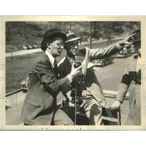1938 Press Photo FD Roosevelt Jr son of President & Ted Husing at NY race