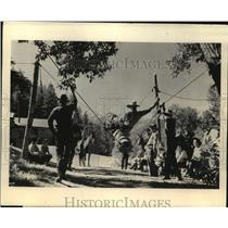 1929 Press Photo Riding a dummy bronco is a sport at the dude ranch  - mjx25075