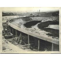 1927 Press Photo Curves of the Cycle Track Which is Rapidly Nearing Completion