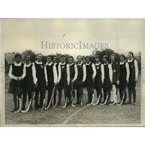 1928 Press Photo English girls field hockey in PA B Cattell, K Doman - sbx00621