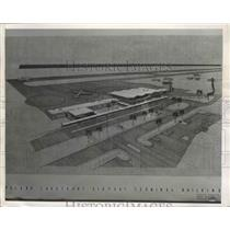 1958 Press Photo Cleveland Lakefront Airport Artist Rendition - ney26593