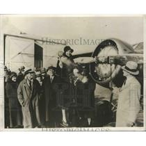 1931 Press Photo Plane Christened in Schnectady with Empty Bottle by GE Company