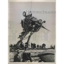 1938 Press Photo US Army Plane Wreckage Hoisted from Boston Harbor - ney26771